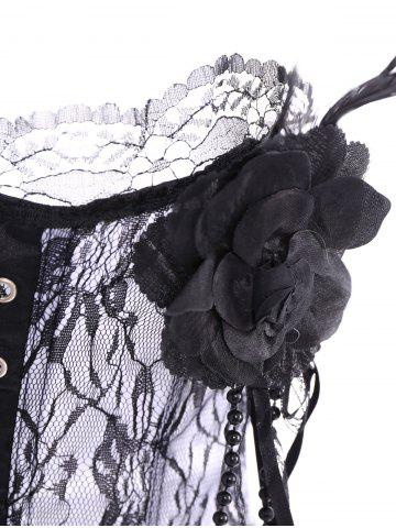 Chic Stylish Stereo Flower Decorated Embroidered Corset For Women - S WHITE Mobile