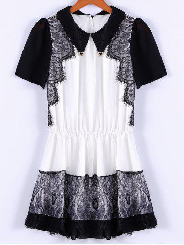Fancy Collared Lace Trim Mini Chiffon Dress BLACK M