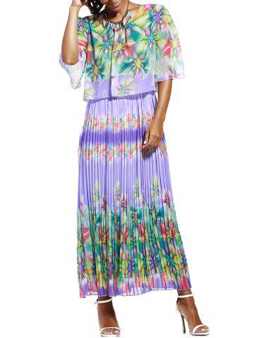 Discount Print Ruffle Pleated Chiffon Maxi Dress