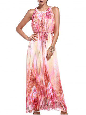 Cheap Sleeveless Print Pleated Maxi Dress with Belt