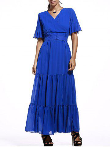 Chic Short Sleeve Ruffle Maxi Chiffon Dress