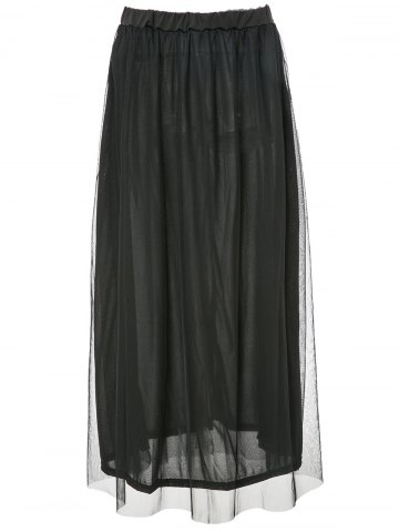 Online Stylish High-Waisted Pure Color A-Line Women's Maxi Skirt