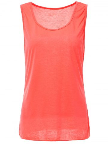 Hot Casual Style Scoop Neck Solid Color Tank Top For Women - L ROSE Mobile