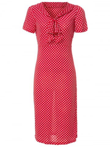 Unique Vintage V-Neck Bowknot Short Sleeve Polka Dot Women's Dress