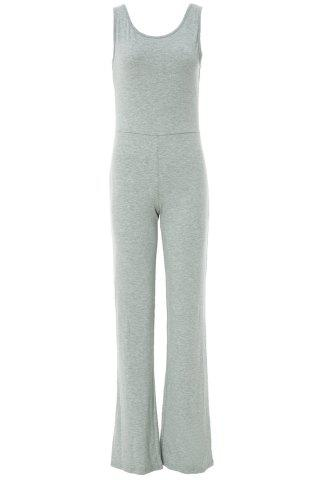 Sexy Scoop Neck Solid Color Backless Sleeveless Jumpsuits For Women - Gray - S
