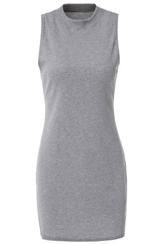 Best Stylish Turtle Neck Solid Color Sleeveless Bodycon Dress For Women GRAY S