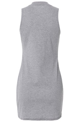 Online Stylish Turtle Neck Solid Color Sleeveless Bodycon Dress For Women - L GRAY Mobile
