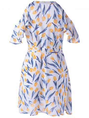 Online Elegant Cold Shoulder Print Dress For Women - XL GREEN AND WHITE AND APRICOT Mobile