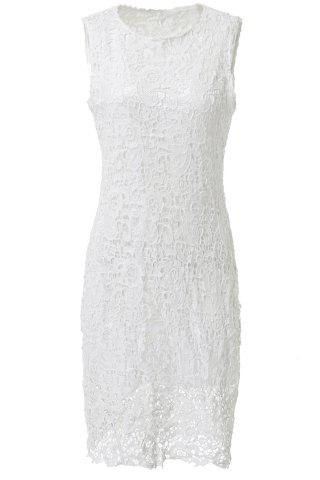 Latest Sexy Round Neck Sleeveless Solid Color Cut Out Women's Lace Dress