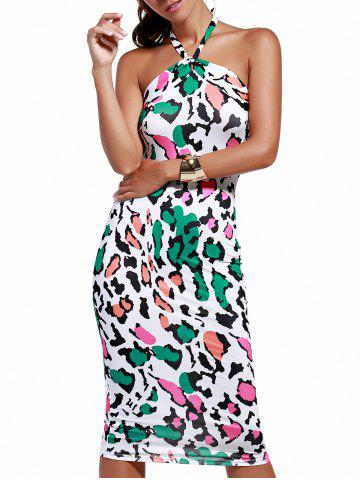 Colorful Leopard Print Halter Bodycon Dress - LEOPARD XL