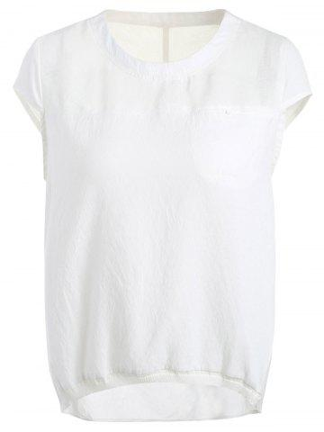 Fashion Simple Design Jewel Neck Short Sleeve White Top For Women