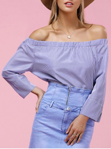 Shops Stylish Off The Shoulder Long Sleeve Striped Blouse For Women