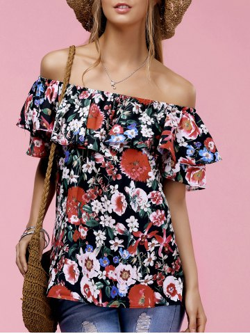 Latest Fashionable Off The Shoulder Floral Print Ruffle Top For Women