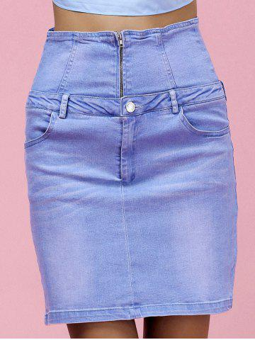 Sale High Waist Skinny Denim Skirt LIGHT BLUE L