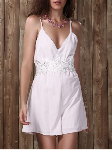 Fancy Lace Insert Backless Cami Romper