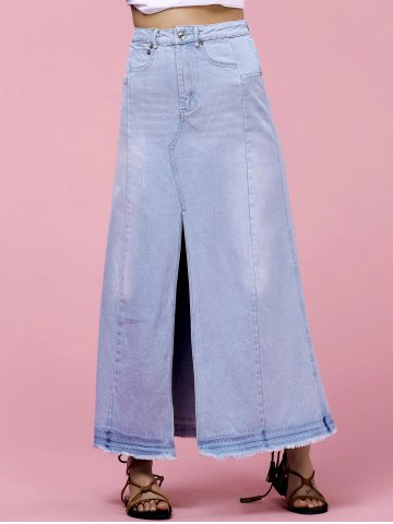 Online High-Waisted Pocket Design Denim Maxi Skirt With Slit LIGHT BLUE L