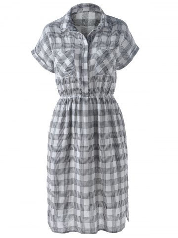 Slit Plaid Short Sleeve Casual Shirt Dress - Gray - S