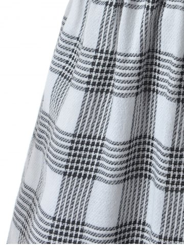 Sale Slit Plaid Short Sleeve Casual Shirt Dress - S GRAY Mobile