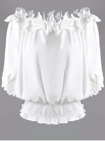 Online Sweet Off The Shoulder White Lacy 3/4 Sleeve Blouse For Women