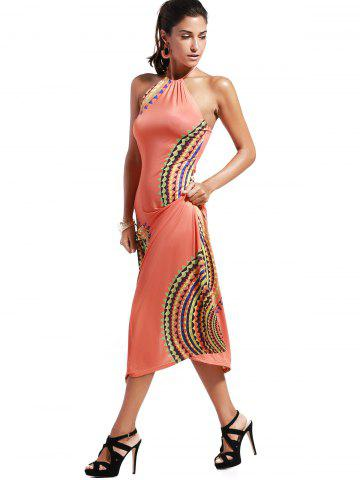 Fashion Bohemian Halter Abstract Print Open Back Maxi Dress For Women - S ORANGEPINK Mobile