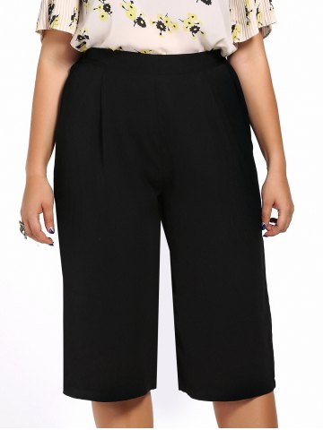 Online Plus Size Wide Leg Capri Pants - 2XL BLACK Mobile
