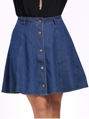 Hot Plus Size Buttoned Pure Color Skater Denim Skirt