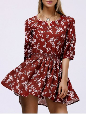 Buy Floral Casual Short Flowy Dress DEEP RED L