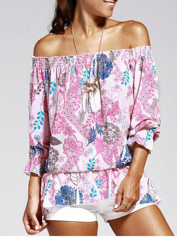 Off The Shoulder Print Chiffon Blouse