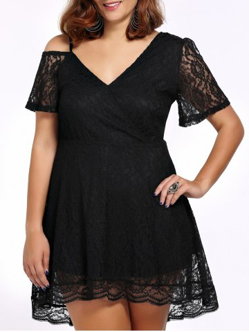 Store Alluring Plus Size Plunging Neck Cut Out Women's Lace Dress