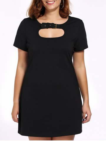 Affordable Alluring Plus Size Cut Out Black Buckle Women's Dress