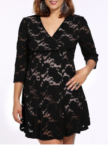 Best Alluring Plus Size Black Plunging Neck 3/4 Sleeve Women's Lace Dress