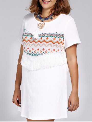 Unique Ethnic Style Plus Size Fringed Tribal Print Women's Dress