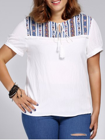 Affordable Ethnic Plus Size Printed Spliced Women's T-Shirt