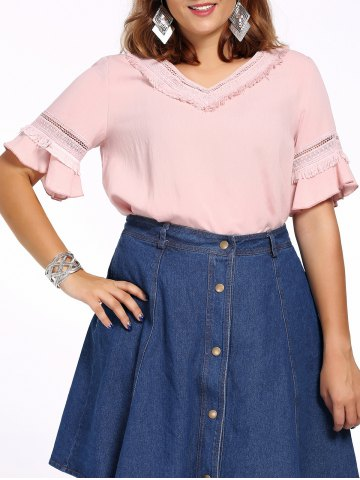 Sale Sweet Plus Size Hollow Out Flare Sleeve Fringed Women's Blouse PINK 5XL