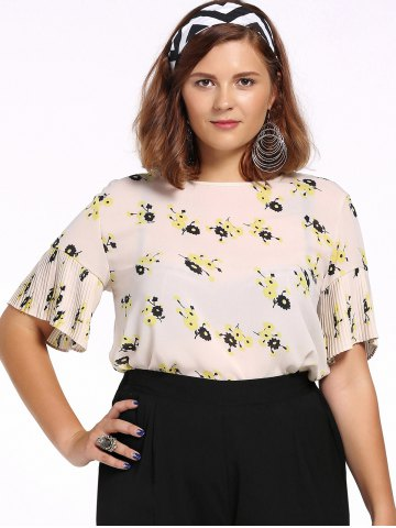 Best Chic Plus Size Tiny Flower Print Pleated Women's Blouse OFF WHITE 5XL