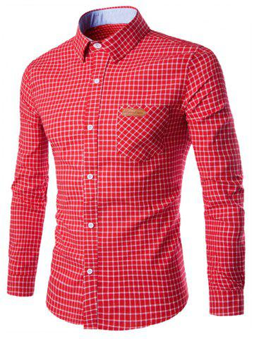 Shops Turn-Down Collar Checked Pocket Design Long Sleeve Shirt For Men