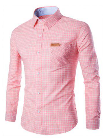 Trendy Turn-Down Collar Checked Pocket Design Long Sleeve Shirt For Men