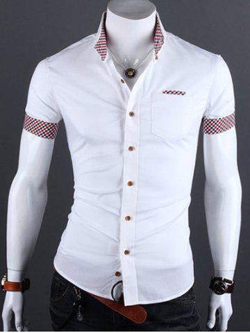 Unique Turn-Down Collar Checked Edging Casual Shirt