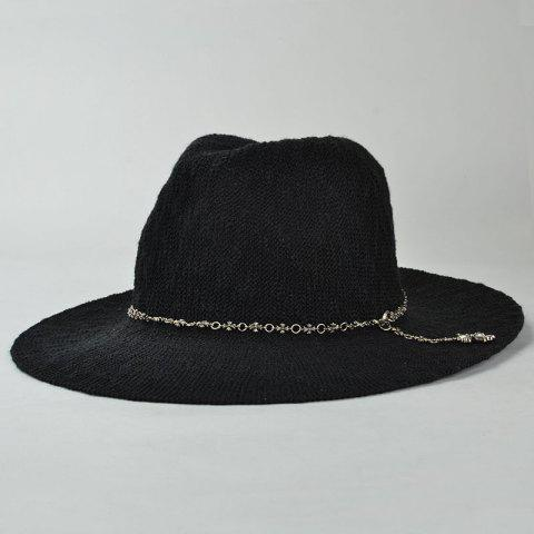 Outfit Punk Style Gothic Cross Chain Embellished Outdoor Sun Hat For Women