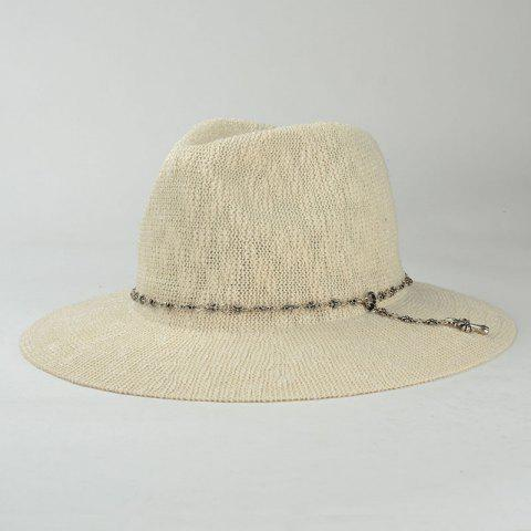 New Punk Style Gothic Cross Chain Embellished Outdoor Sun Hat For Women - OFF-WHITE  Mobile