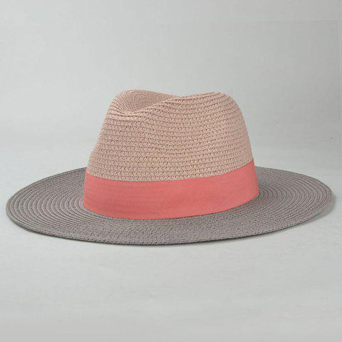 Store Stylish Wide Band Embellished Color Match Sunscreen Straw Hat For Women