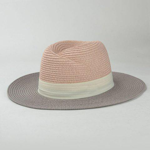 Cheap Stylish Wide Band Embellished Color Match Sunscreen Straw Hat For Women - WHITE  Mobile
