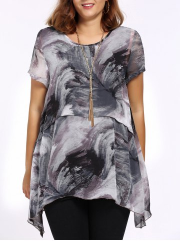 Discount Chic Plus Size Asymmetric Printed Women's Blouse