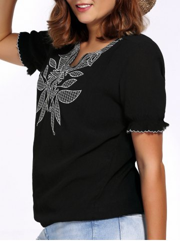 Unique Chic Plus Size V Neck Flower Embroidered Women's Blouse