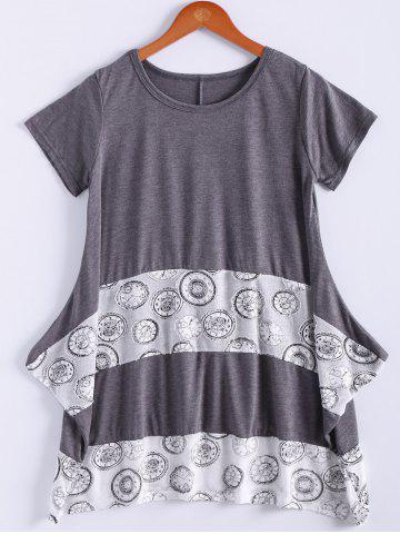 Online Loose-Fitting Short Sleeve Round Neck Splicee Design Dress For Women