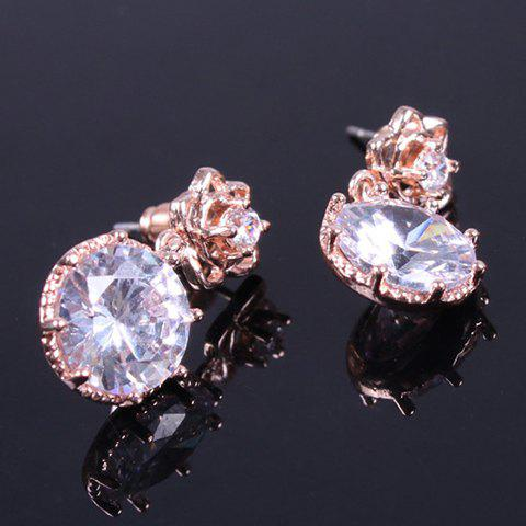 Fashion Pair of Vintage Rhinestone Rose Floral Earrings ROSE GOLD