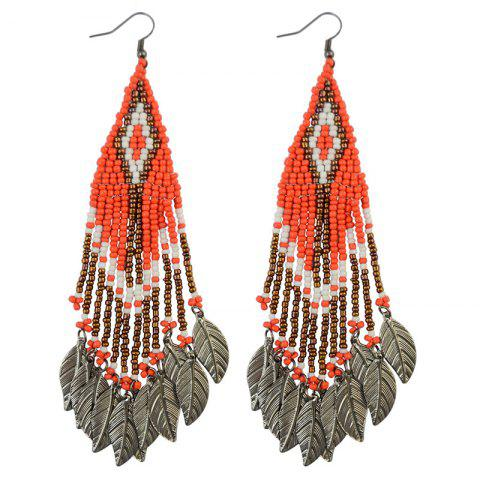 Store Pair of Stylish Bead Leaf Tassel Drop Earrings For Women