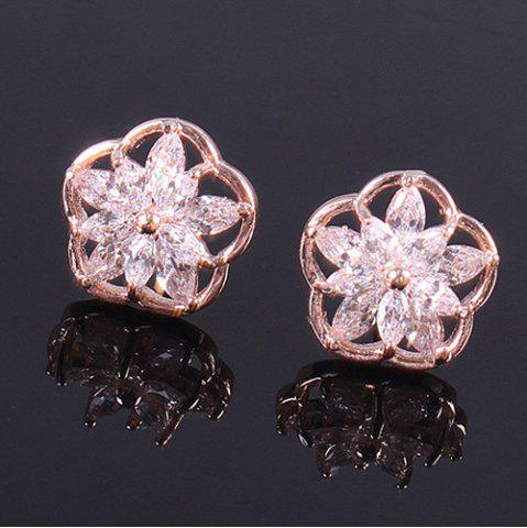 Outfits Pair of Vintage Rhinestone Flower Stud Earrings ROSE GOLD