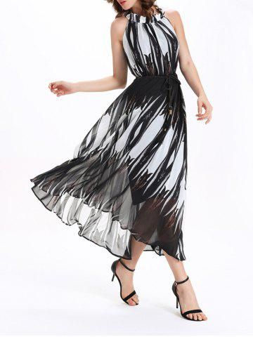Hot Fashionable Round Neck Sleeveless Print Women's Ombre Dress - 2XL WHITE AND BLACK Mobile
