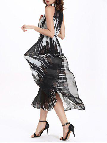 Discount Fashionable Round Neck Sleeveless Print Women's Ombre Dress - 2XL WHITE AND BLACK Mobile